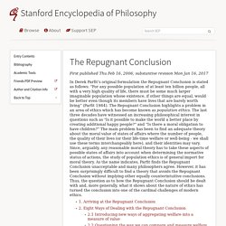 The Repugnant Conclusion (Stanford Encyclopedia of Philosophy)