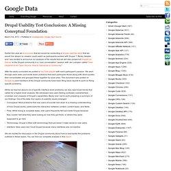 Drupal Usability Test Conclusions: A Missing Conceptual Foundation