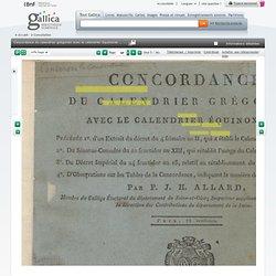 Concordance du calendrier grégorien avec le calendrier équinoxial ... par P.-J.-H. Allard,...