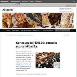 Concours de l'EHESS: conseils aux candidat.E.s