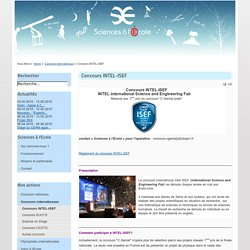 Concours INTEL-ISEF