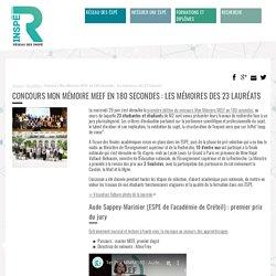 Concours Mon Mémoire MEEF en 180 secondes : les mémoires des 23 lauréats