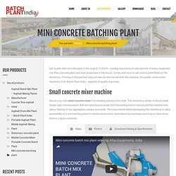 Mini Concrete Plant Supplier