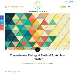 Concreteness Fading: A Method To Achieve Transfer — The Learning Scientists