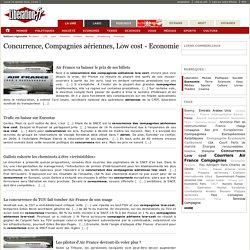 Concurrence, Compagnies aériennes, Low cost - Economie