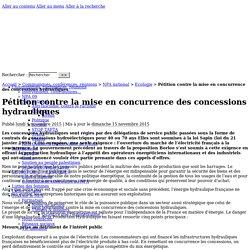 Pétition contre la mise en concurrence des concessions hydrauliques