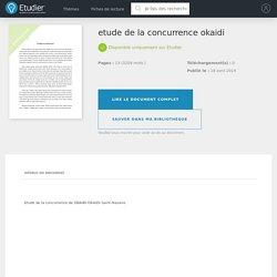 etude de la concurrence okaidi - Notes de recherches - Enony