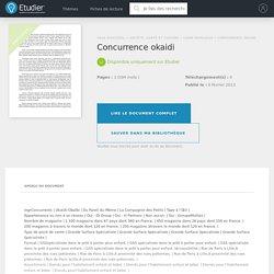 Concurrence okaidi - Rapports de Stage - Mariegri