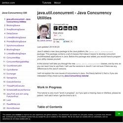 java.util.concurrent - Java Concurrency Utilities