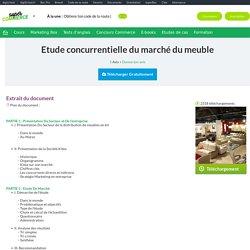 Etude concurrentielle du marché du meuble, mémoire à télécharger gratuitement