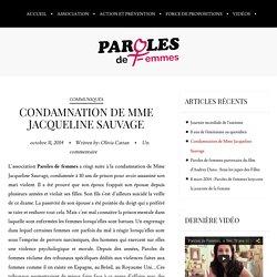 Condamnation de Mme Jacqueline Sauvage