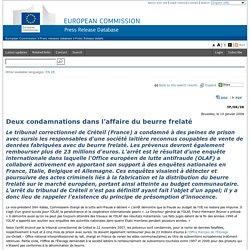 EUROPE 14/01/08 Deux condamnations dans l'affaire du beurre frelaté