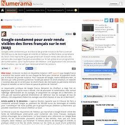 Google condamné pour avoir rendu visibles des livres français su