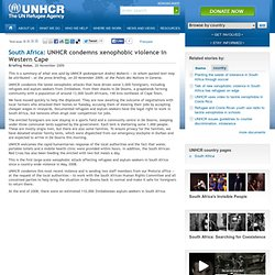 South Africa: UNHCR condemns xenophobic violence in Western Cape