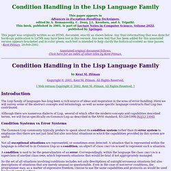 ``Condition Handling in the Lisp Language Family'' c by Kent Pit