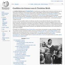 Condition des femmes sous le Troisième Reich