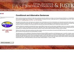 Conditional and Alternative Sentences - FASD & The Justice System