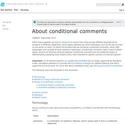 About conditional comments (Internet Explorer)