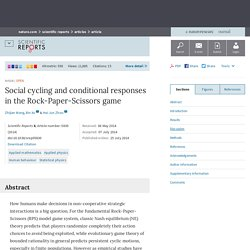 Social cycling and conditional responses in the Rock-Paper-Scissors game : Scientific Reports