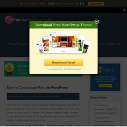 Create Conditional Menu in WordPress