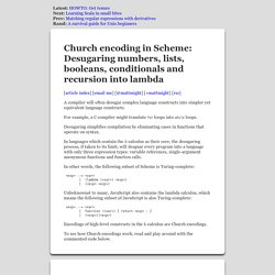 Church-encoded numbers, lists, booleans, conditionals with fixed-point recursion in Scheme