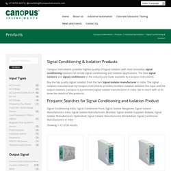 Signal Isolator & Signal Conditioner Manufacturer & Supplier  - Canopus Instruments