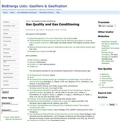 Gas Quality and Gas Conditioning | BioEnergy Lists: Gasifiers & Gasification
