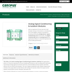 Analog Signal Conditioning & Isolation System - Canopus Instruments