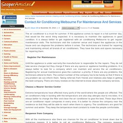 Contact Air Conditioning Melbourne For Maintenance And Services