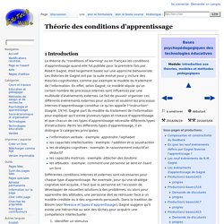 Théorie des conditions d'apprentissage
