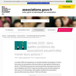 Rentrée 2020 : dans quelles conditions les associations peuvent-elles mener leurs actions ?