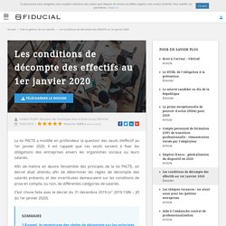 Conditions de décompte des effectifs au 1er janvier 2020