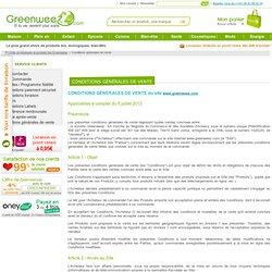 Conditions générales de vente, Greenweez, produits écologiques, bio, naturels