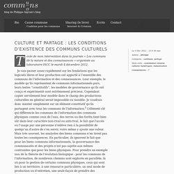 Culture et partage : les conditions d'existence des communs culturels