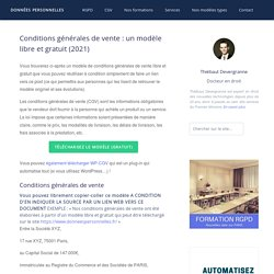 Conditions générales de vente : un modèle libre et gratuit !