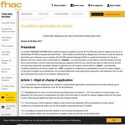 Conditions générales de ventes - FNAC Réunion