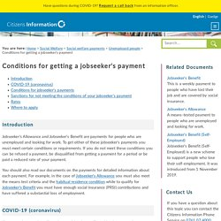 Conditions for getting a jobseeker's payment