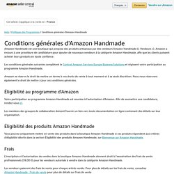 Conditions générales d'Amazon Handmade - Amazon Seller Central