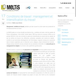 Conditions de travail : management et intensification du travail -