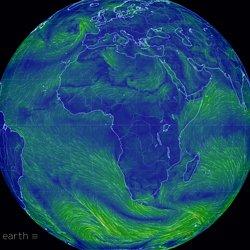 une carte mondiale des conditions de vent, météorologiques et océaniques