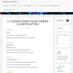 17 conditions pour créer la motivation