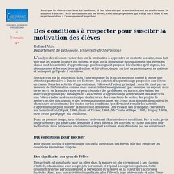 10 conditions pour motiver by Rolland VIAU (article)