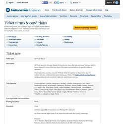Journey Planner - Ticket terms and conditions - National Rail Enquiries
