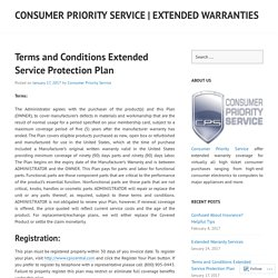 Terms and Conditions Extended Service Protection Plan