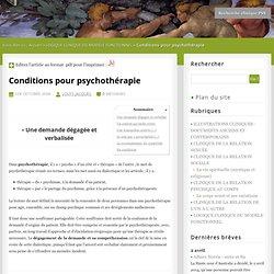 2. Conditions pour psychothérapie - Recherche clinique PSY