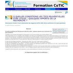 À quelles conditions les TICE peuvent-elles être utiles : quelques apports de la recherche ? - Formation CoTIC