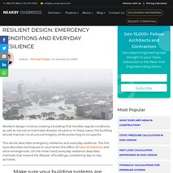 Resilient Design: Emergency Conditions and Everyday Resilience