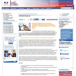 L'impact des TIC sur les conditions de travail dans la fonction publique ?gg