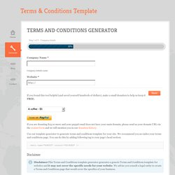 Terms and Conditions Template Generator » 100% FREE