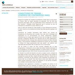 Conditions de travail : l'exemple de l'entreprise Mars